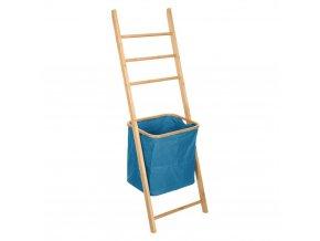 Bambusová věšák na ručníky s košem na prádlo, 45x33x139, šedá