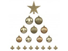 Vánoční koulí s hvězdou, 18 kusů, zlaté