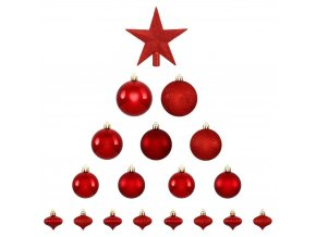 Vánoční ozdoby s hvězdou, 18 kusů, červené