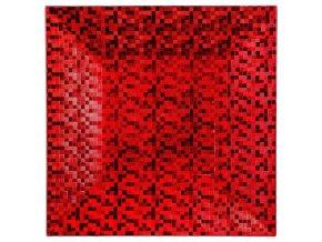 Červený vánoční talíř z polypropylenu PIXEL, 33x33 cm