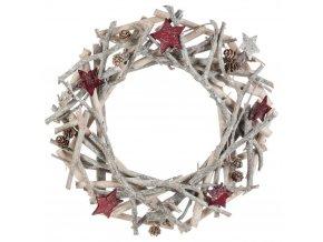 Vánoční kulatý věnec z přírodních materiálů, bílá, 30 cm