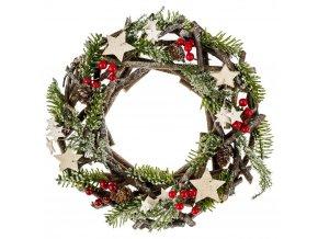 Vánoční čelenka kulatá, věnec z přírodních materiálů, zelená, 30 cm