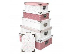Dekorativní krabice různých velikostí, růžové a bílé, 6 ks