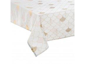 Ubrus, bílý se zlatými šupinami potisk 140 x 240 cm