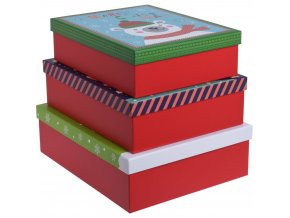 Sada 3 kartonových dárkových krabiček, červená