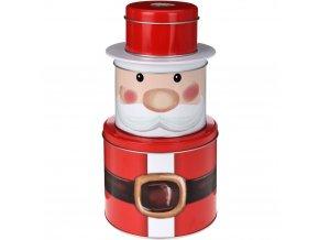 Kovové plechovky ve tvaru Santa Claus, 3 úrovně