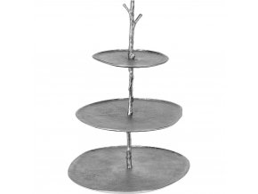 Podnos, 3-úrovňový kov, průměr 45 cm, stříbrná
