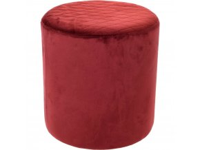 kulatý prošívaný pouf, velurové čalounění, Ø 34 x 36 cm, červená