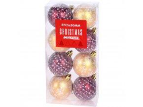 Vánoční ozdoby JOLLY, 8 ks, průměr 5 cm, zlatá a červená