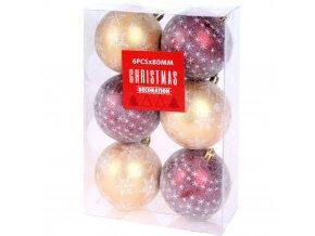 Vánoční ozdoby JOLLY, balení po 6, průměr 8 cm, zlatá a červená barva