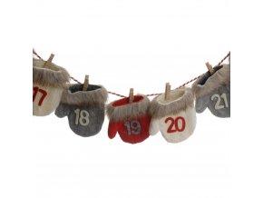 Adventní kalendář věnce, téma rukavic, 28 x 36 cm