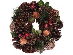 Vánoční Věnce, tmavě zelená barva Ø 26 cm