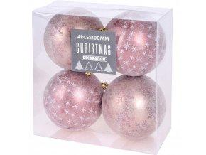 Vánoční ozdoby Pretty, balení po 4, průměr 10 cm, růžová