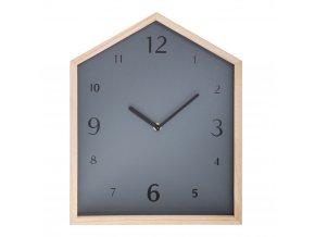 Dětský pokoj Nástěnné hodiny s tichým mechanismem Dřevěná Chata Šedá