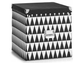 Krabice z lepenky pro ukládání předmětů, dekorativní nádoba pro obývací pokoj, uzavřená víkem.