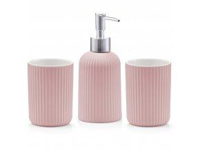 Sada příslušenství pro koupelnu, keramický dávkovač a hrnky, nádoba na tekuté mýdlo.