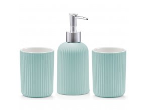 Sada keramických doplňků, dávkovač tekutého mýdla, hrnky pro ukládání věcí v koupelně.