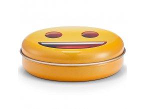 Originální kulatá krabice s veselým motivem, kovový materiál, pevný, uzavřený víkem, žlutá, Zeller