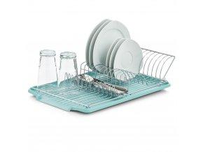 Sušička na desky, samostatná část s odkapávačem, kovový stojan na nádobí a příbory.