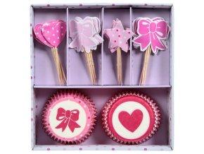 Sada pro zdobení muffinů, mini-cupcakes, 48 kusů - růžová
