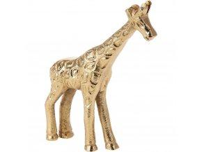 Chutná žirafa 11 cm vysoká, hliníkový materiál, zlatá barva, estetická výzdoba bytu.
