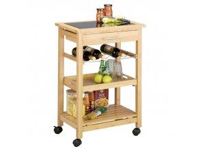 Kuchyňský vozík na kolečkách, 85x58x40 cm, bambus, sklo, ZELLER