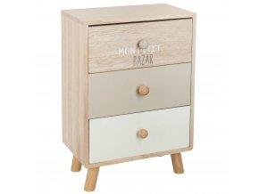 Dekorativní komoda, miniaturní kus nábytku se zásuvkami, dřevěný organizátor pro drobné předměty.