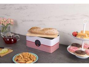 Pečeme s dřevěným víkem, kovový chléb kontejner s jedinečným designem
