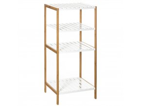 Bambusová police 4 úrovně, praktický koupelnový nábytek odolný proti vlhkosti s elegantním designem