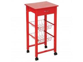 Kuchyňský vozík pro servírování nádobí, kolečka se zásuvkou a 2 košíky - SECRET de GOMURME