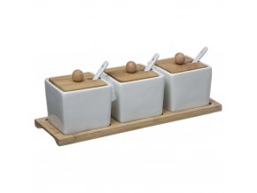 Dip miska +lžíce, sada 3 nádobí s víčkem a podnosem - porcelán a bambus, SECRET de GOMURME