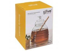 Skleněná nádoba na skladování medu, velká kuchyňská nádoba+speciální lžička - výška 14 cm, SECRET de GOMURME