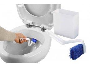 Úhlový kartáč pro čištění toalet a nádobu s přísavkami, nástěnná koupelnová sada z plastu - WENKO