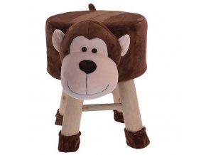 Dětské teakové pouf, čalouněná stolička s pohodlným sedadlem ve tvaru opice