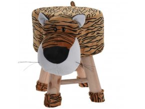 Dětské čalouněné pouf s tygří sedadlem, bezpečné teakové stoličky