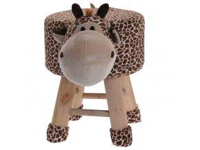 Dětská žirafa pouf z teaku, čalouněná stolička s pohodlným sedadlem