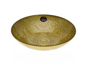 Zlatá dekorativní miska z ryto skla, talíř s křišťálovým ovocem v jedinečném odstínu
