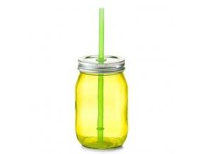 Nádoba na pití se slámou, 475 ml, zelená