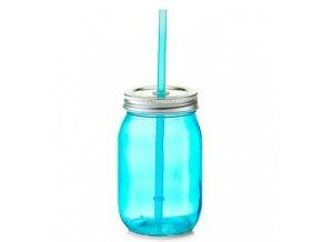 Nádoba na pití se slámou, 475 ml, modrá