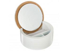 Kosmetický bílo-růžový organizér se zrcadlem s MDF, 13x6 cm