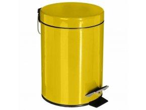 Koš na odpadky z kovu ve žluté barvě, 3l