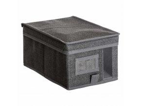 Nádoba na skladování textilu, 20x30x15 cm, šedá
