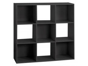 Dekorativní police, velká, čtvercová, 9 přihrádek v černé barvě, výška: 100,5 cm x 100,5 cm