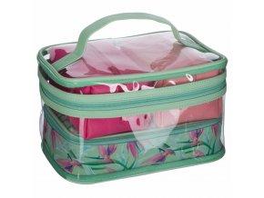 Dámská cestovní taška na toaletní potřeby, balení po 4, zelená