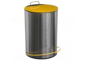 Koš na odpadky z kovu ve stříbrné barvě se žlutou klapkou, nožní pedál, 5l