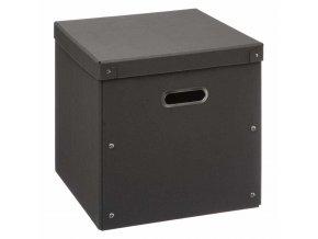 Kartonová krabice s víkem, skladovací krabice, 31 x 31 cm, černá