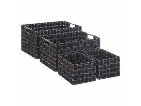 Sada čtyř splétaných skladovacích kontejnerů v tmavě šedé barvě