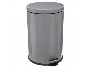 Kulatý odpadkový koš, nerezová ocel, šedý lesk, otvírací patka, 20l