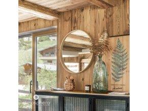 Váza nasekaná, skleněná láhev, barva khaki, 35 cm