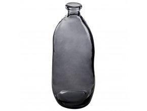 váza broušené květiny, skleněná láhev, šedá, 51 cm
